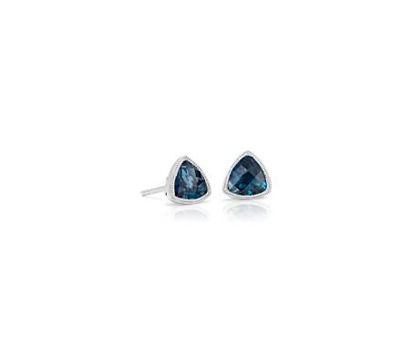 Trillion London Blue Topaz Earrings with Milgrain Detail in 14k White Gold (6mm)