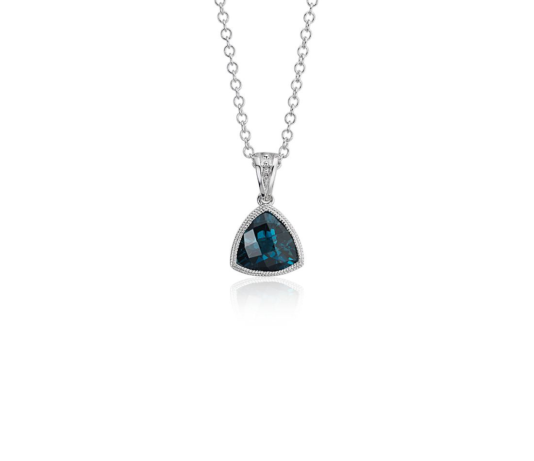 Trillion London Blue Topaz Pendant with Milgrain Detail in 14k White Gold (7mm)