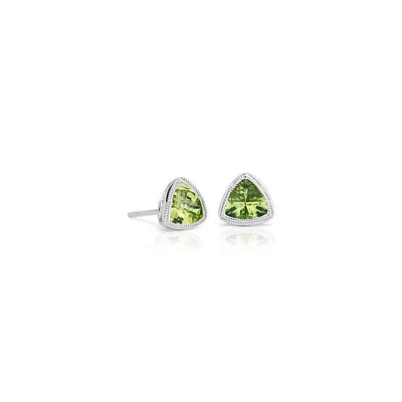 Trillion Peridot Earrings with Milgrain Detail in 14k White Gold