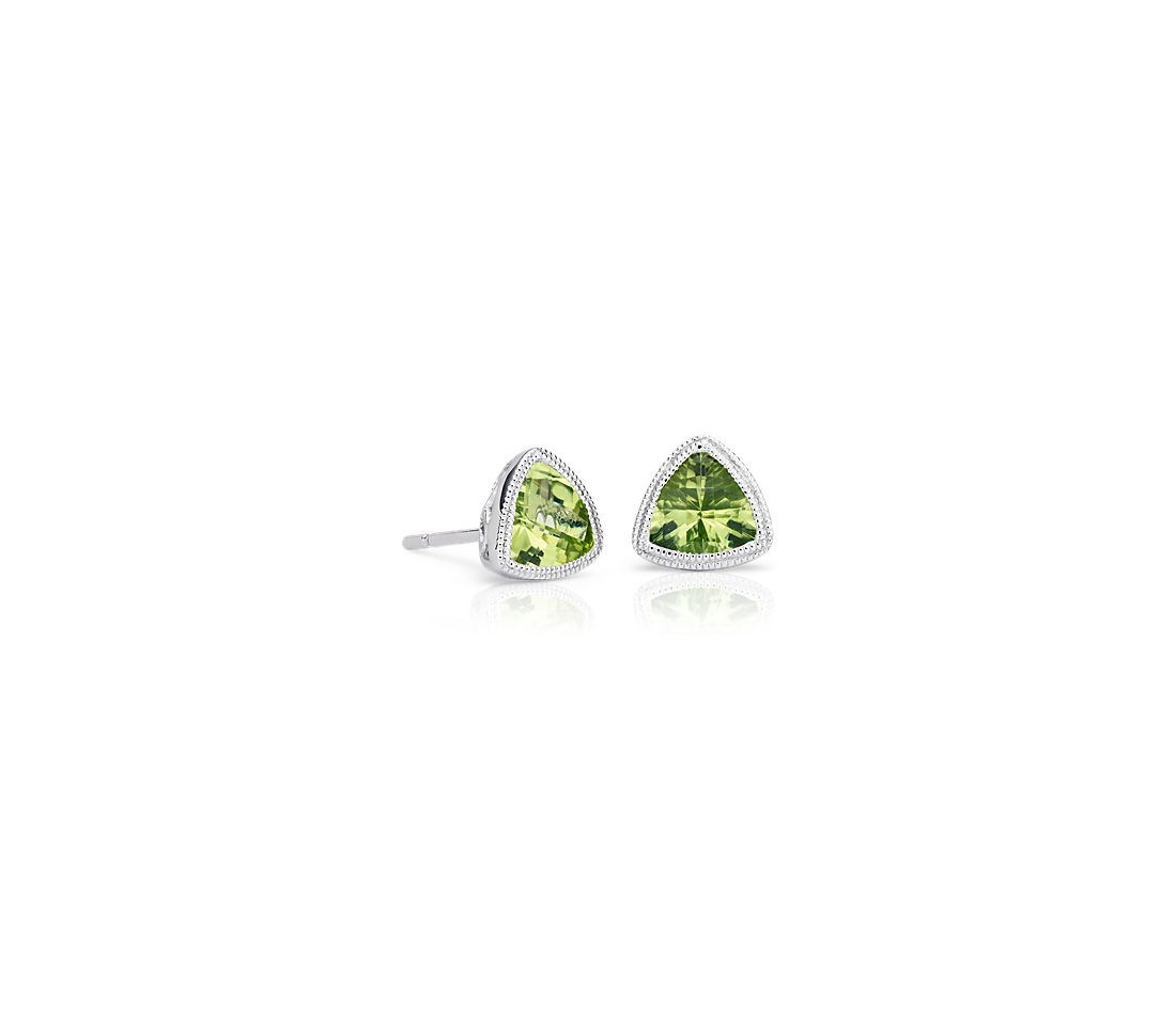 Trillion Peridot Earrings With Milgrain Detail In 14k White Gold 6mm