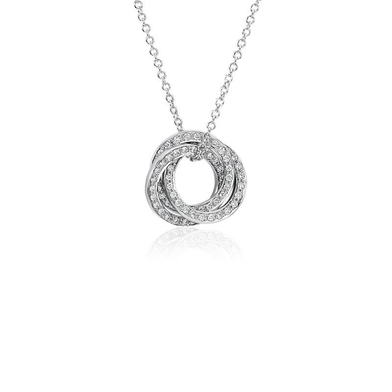 Trio Circle Diamond Pendant in 14k White Gold (1/3 ct. tw.)
