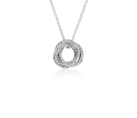 14k 白金 三重圓圈鑽石吊墜<br>( 1/3 克拉總重量)