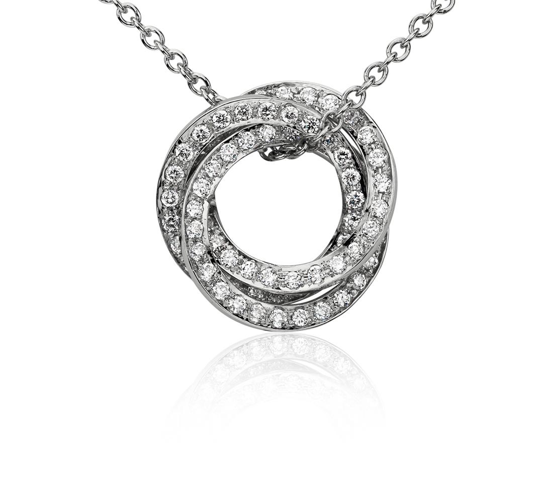 Colgante de diamantes con tres círculos en oro blanco de 14 k (1/3 qt. total)