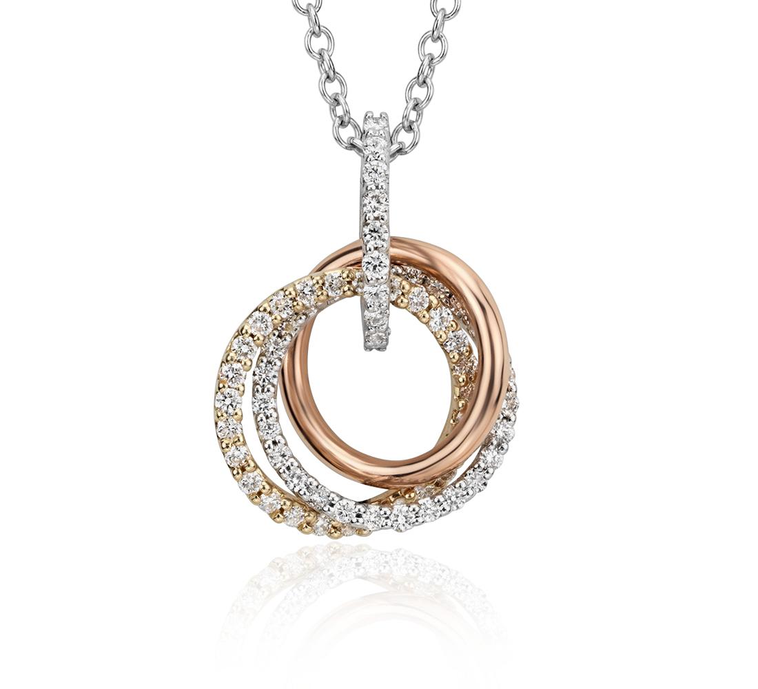 Trio Diamond Pendant in 14k Tri-color Gold