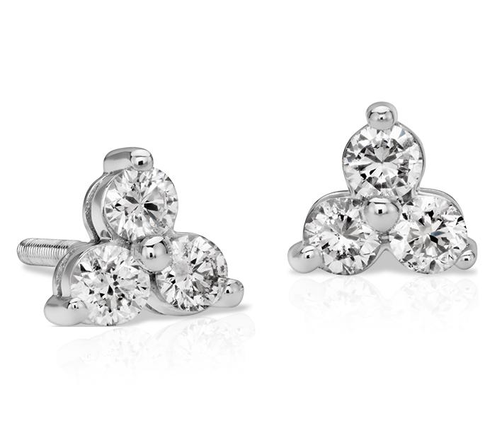 Boucles d'oreille diamant trio classiques en or blanc 14carats