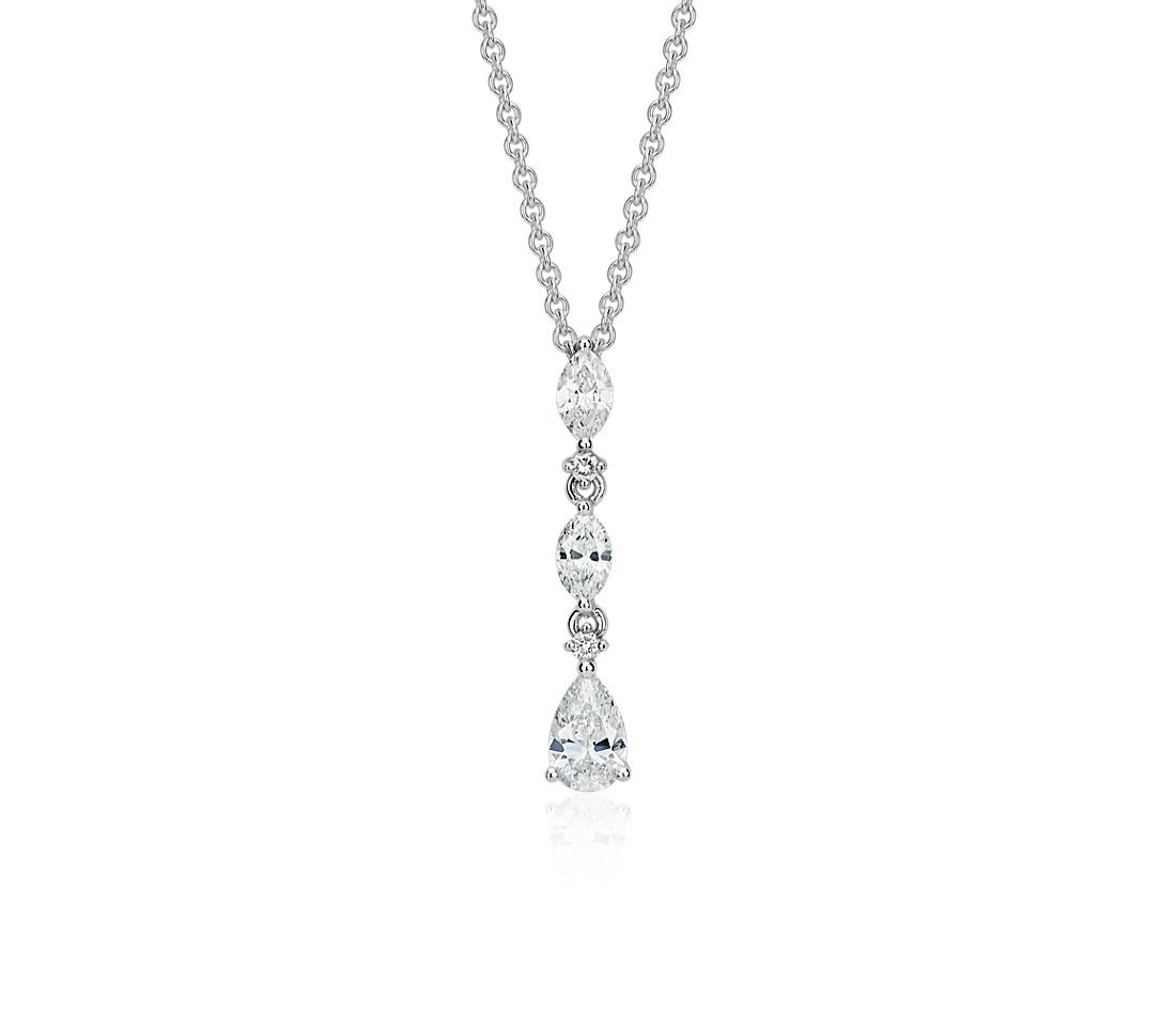 Trio Drop Diamond Pendant in 14k White Gold (7/10 ct. tw.)
