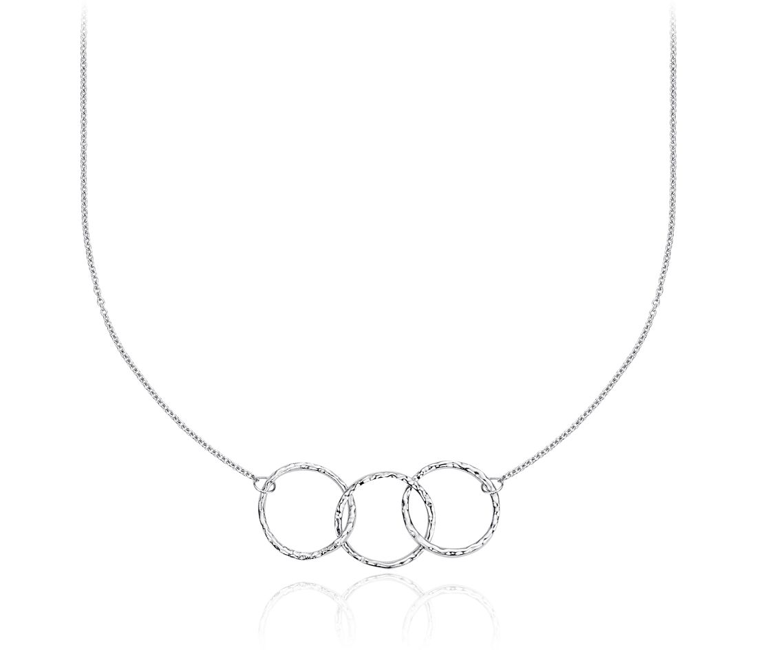 Trio Hammered Necklace in Sterling Silver