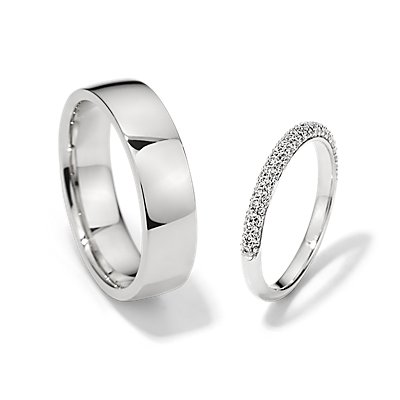 Trio Micropavé and Low Dome Comfort Fit Set in 14k White Gold