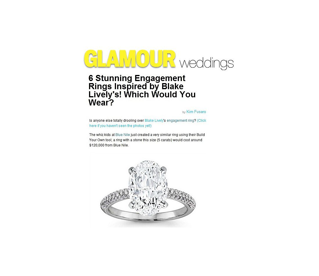 Trio Micropavé Diamond Engagement Ring in 14k White Gold featured in Glamour.com