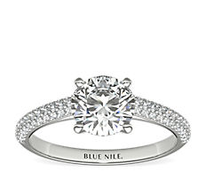 Trio Micropavé Engagement Ring in 14k White Gold