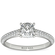 Trio Micropavé Engagement Ring in Platinum
