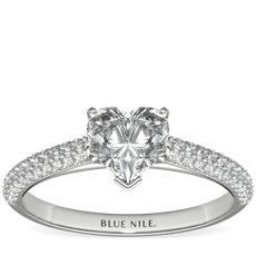Trio Micropavé Engagement Ring in Platinum