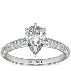 Trio Micropavé Engagement Ring in Platinum (0.34 ct. tw.)