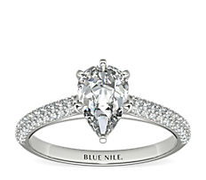 Trio Micropavé Engagement Ring in Platinum (0.34 ct. tw.)