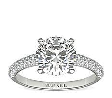 Trio Micropavé Diamond Engagement Ring in Platinum (1/3 ct. tw.)
