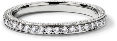 Trio Micropav Diamond Eternity Ring in 14k White Gold 45 ct tw