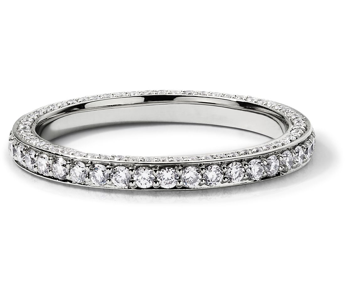 Trio Micropavé Diamond Eternity Ring in 14k White Gold (0.69 ct. tw.)