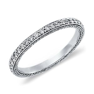 Trio Micropavé Diamond Eternity Ring in 14k White Gold (4/5 ct. tw.)
