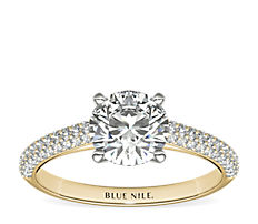 Trio Micropavé Engagement Ring in 18k Yellow Gold (0.34 ct. tw.)