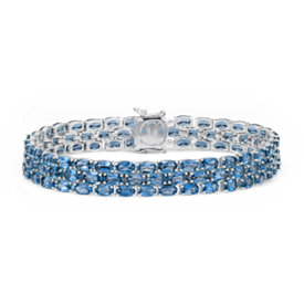 Trio Oval London Blue Topaz Bracelet in Sterling Silver (5x3mm)