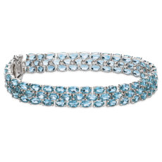 NEW Trio Oval Blue Topaz Bracelet in Sterling Silver (5x3mm)