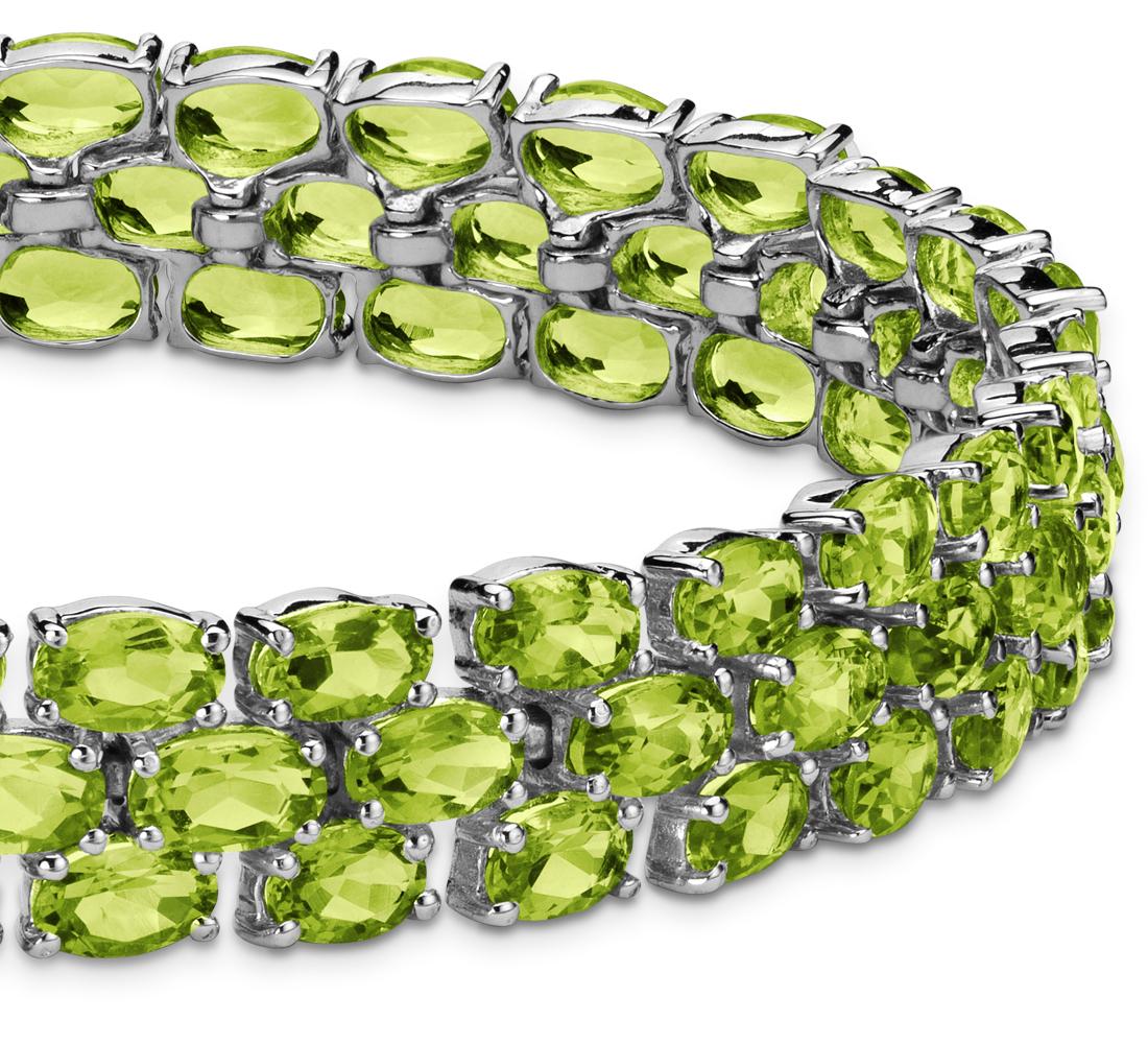 Bracelet en trio de péridots ovales en argent sterling (5x3mm)