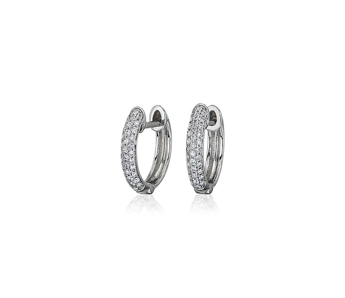 Trio Pavé Diamond Hoop Earrings in 14k White Gold (1/4 ct. tw.)