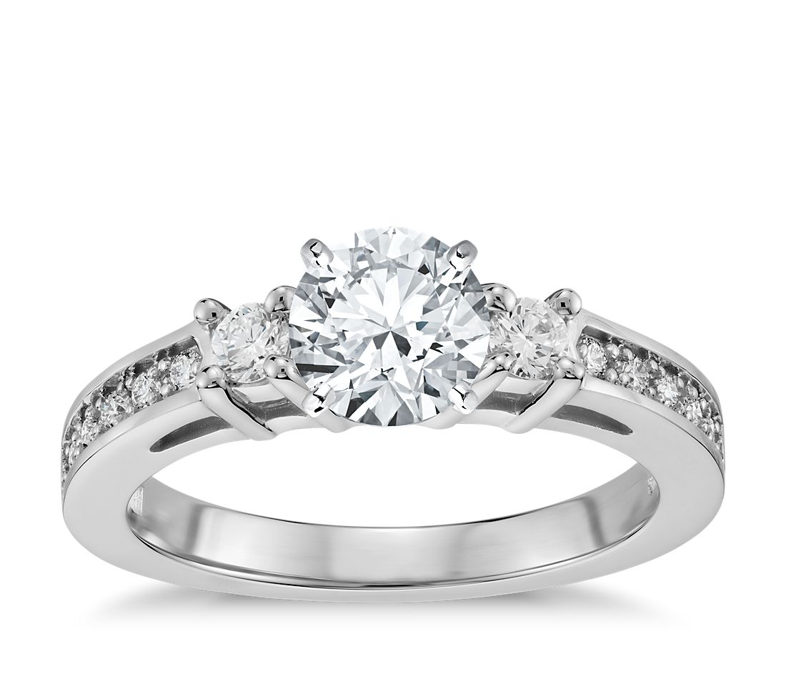 Trio Pavé Diamond Engagement Ring In 14k White Gold (1/4
