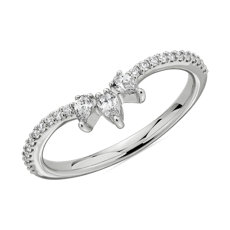 NEW Trio Pear-Shaped Diamond & Pavé Curved Wedding Ring in 14k White Gold (0.23 ct. tw.)