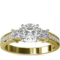 Trio Princess Cut Pave Diamond Engagement Ring in 14k Yellow Gold (1/3 ct. tw.)