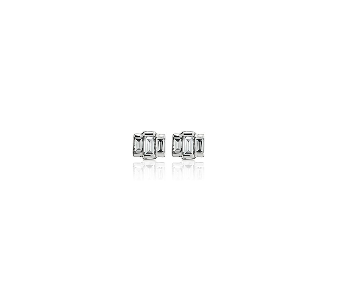 Triple Baguette Diamond Stud Earrings in 14k White Gold (1/6 ct. tw.)