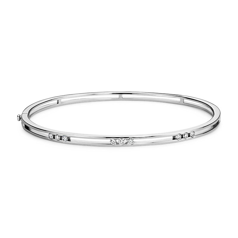 Triple Diamond Station Bangle Bracelet in 14k White Gold (1/3 ct.