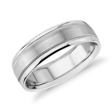 Triple Inlay Ring with Milgrain Centre in 14k White Gold (7mm)