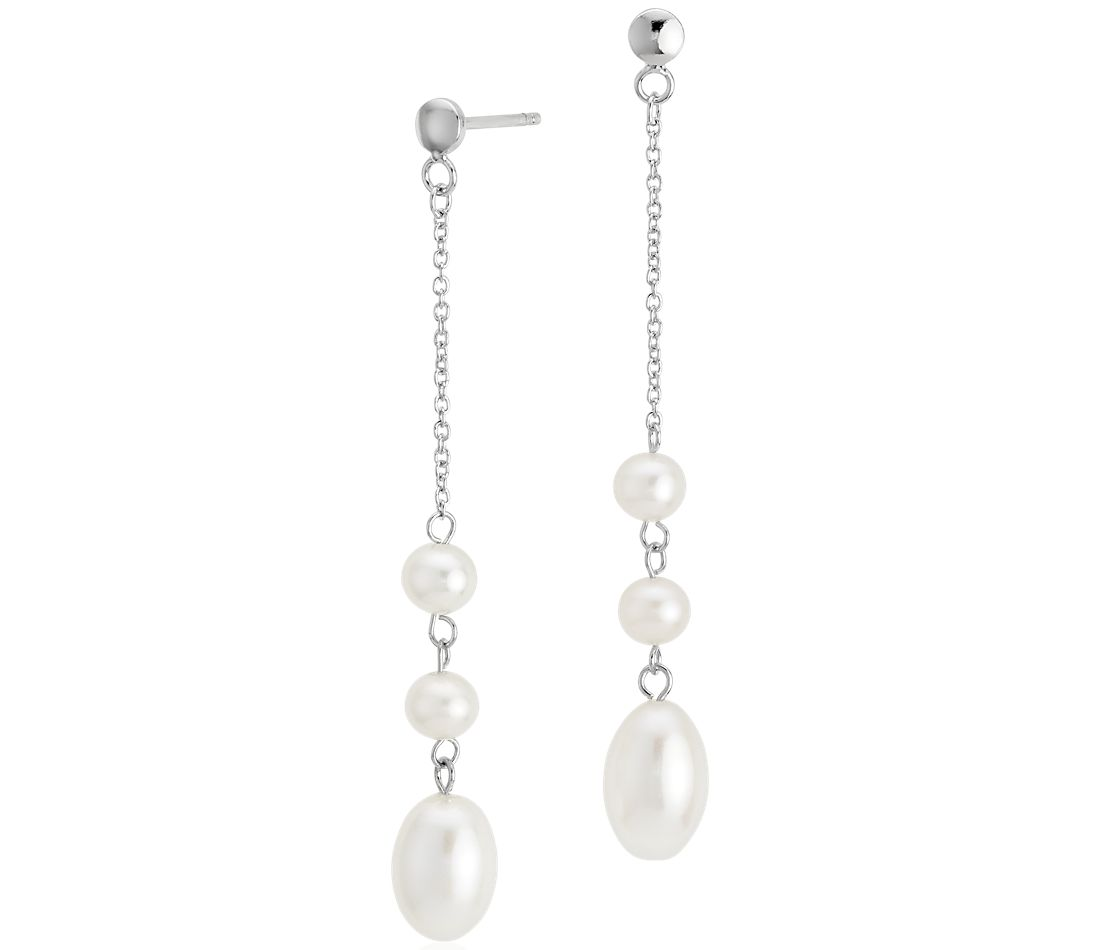 Triple Drop Freshwater Cultured Pearl Earrings in Sterling Silver