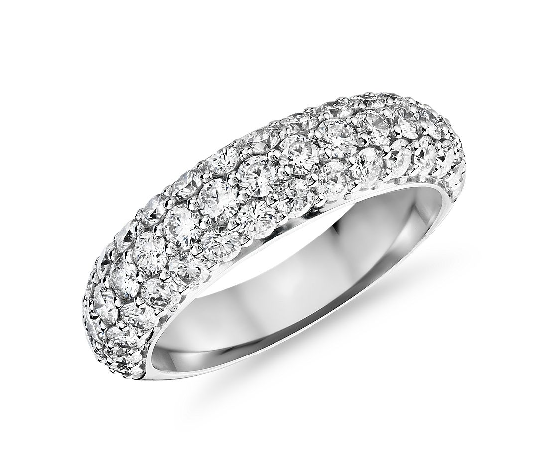 Triple Row Diamond Anniversary Ring in 18k White Gold (1 1/2 ct. tw.)
