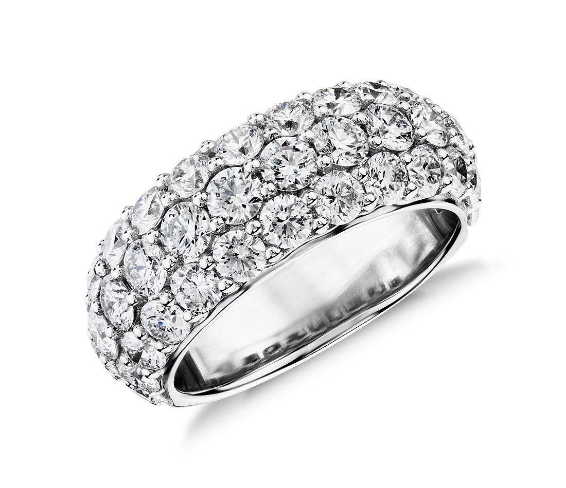 Triple Row Pave Diamond Ring in 18k White Gold (3 ct. tw.)