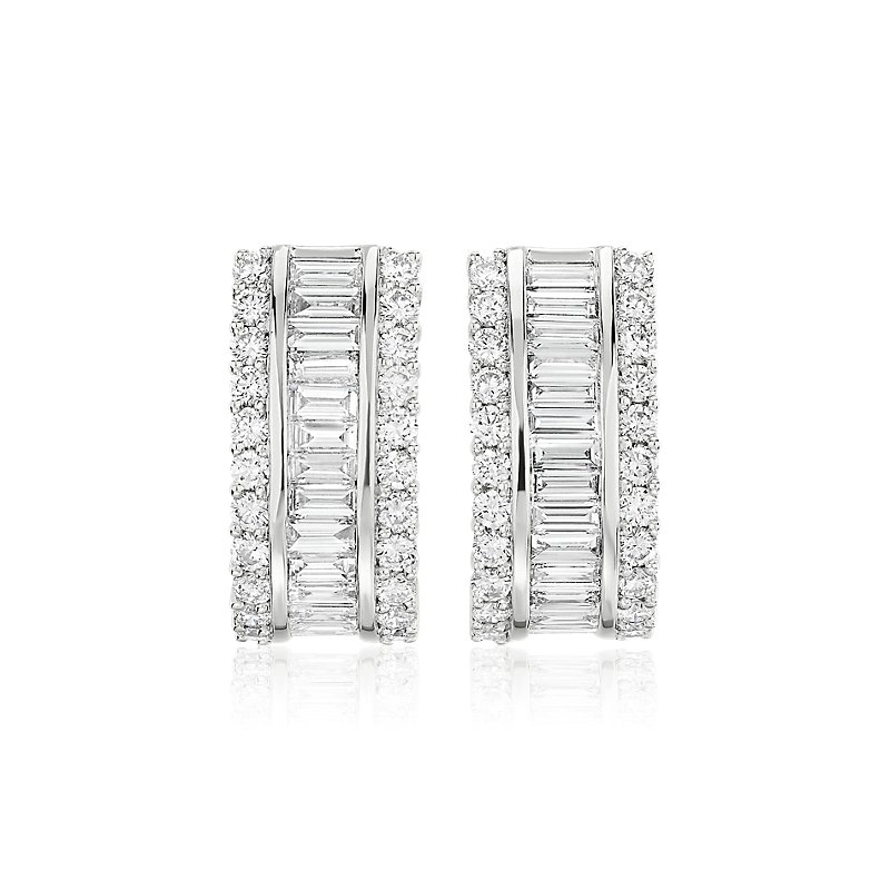 Triple Row Diamond Baguette Hoop Earrings in 14k White Gold (3 1/