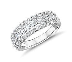 14k 白金三排鑽石時尚戒指(1 克拉總重量)