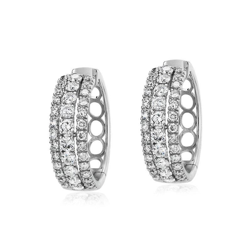 Triple Row Diamond Hoop Earring in 14k White Gold (1 1/2 ct. tw.)