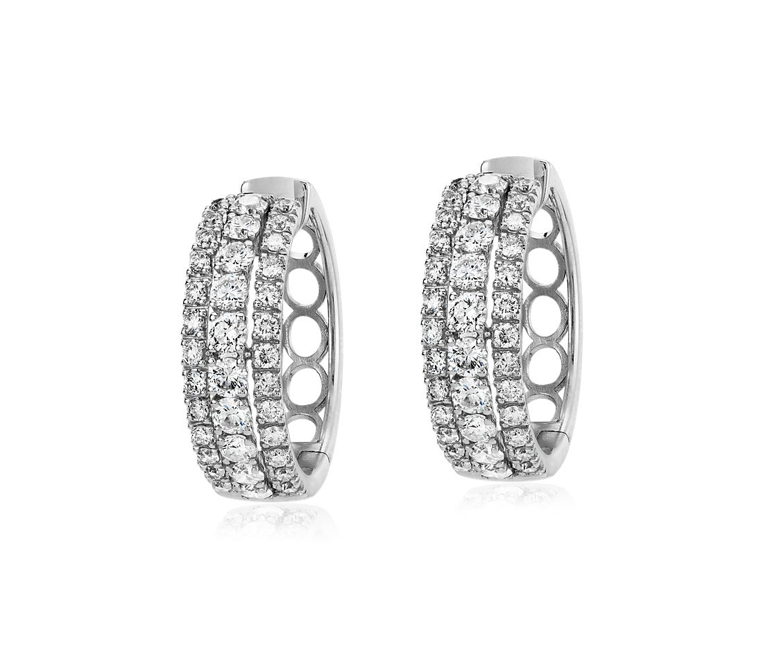 Triple Row Diamond Hoop Earring in 14k White Gold (1 1/2 ct. tw.)