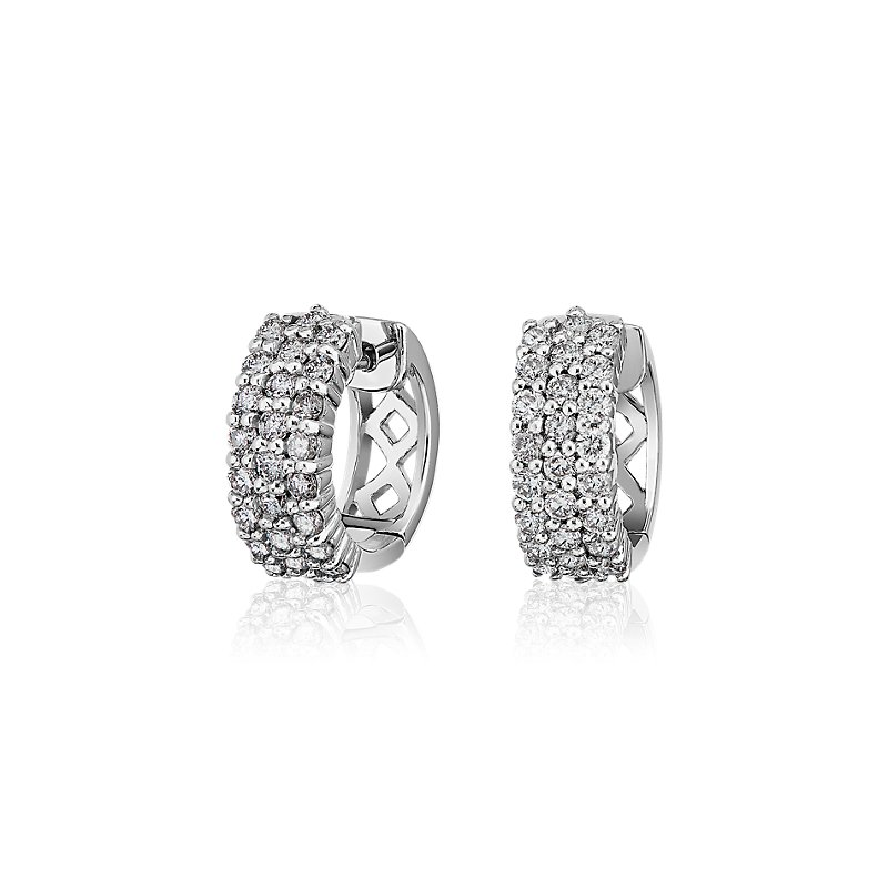 Triple Row Diamond Huggie Hoop Earrings in 14k White Gold (1 ct. tw.)
