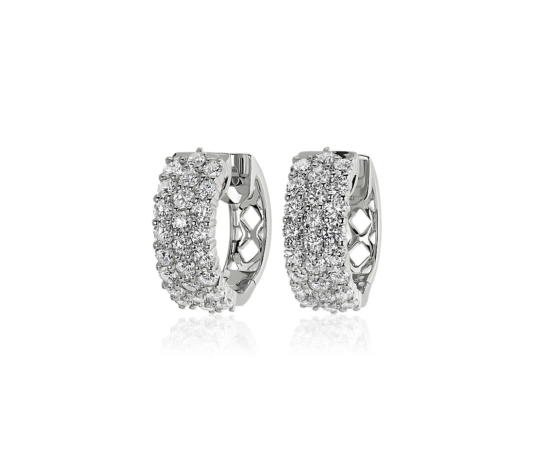 Triple Row Diamond Petite Huggie Hoop Earrings in 14k White Gold (2 ct. tw.)