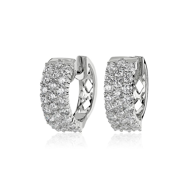 Triple Row Diamond Petite Huggie Hoop Earrings in 14k White Gold