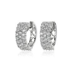 14k 白金三排钻石小巧开合式圈形耳环<br>(3 克拉总重量)