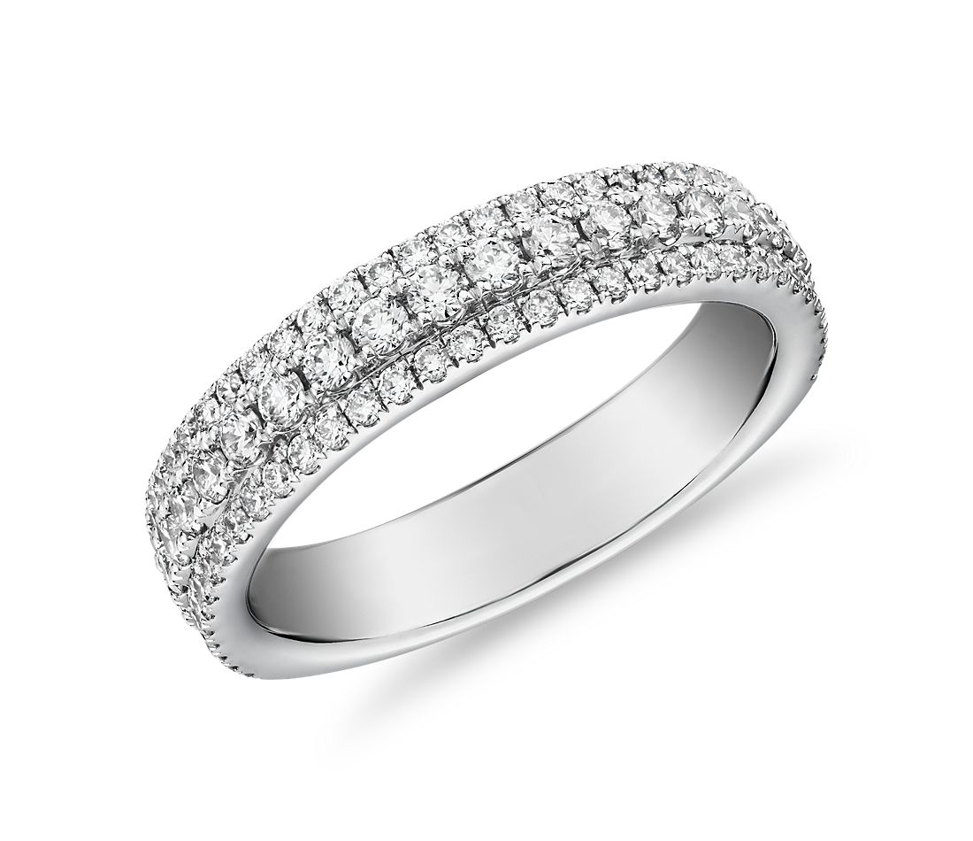 Triple Row Diamond Ring in 14k White Gold (3/4 ct. tw.)