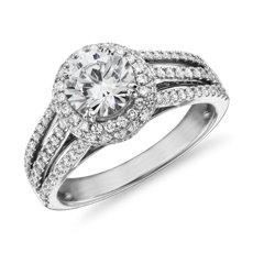 Cuerpo del anillo con tres filas de diamantes y halo en oro blanco de 14 k (5/8 qt. total)