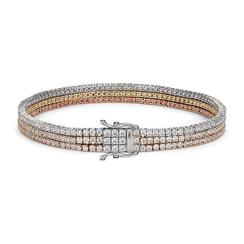 Triple Row Diamond Tennis Bracelet in 18k White, Yellow and Rose
