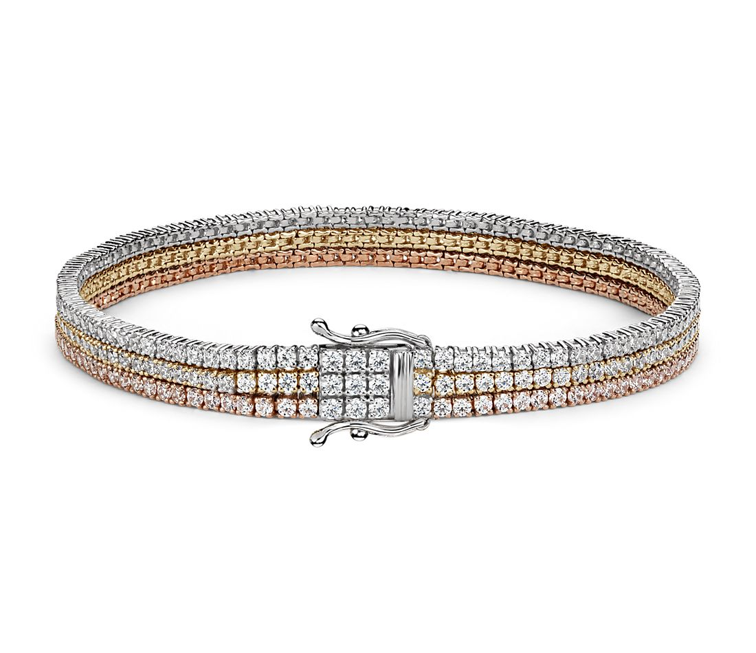 Triple Row Diamond Tennis Bracelet In 18k White Yellow And Rose Gold 4 75 Ct Tw