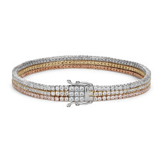 NEW Triple Row Diamond Tennis Bracelet in 18k White, Yellow and Rose Gold (4.75 ct. tw.)
