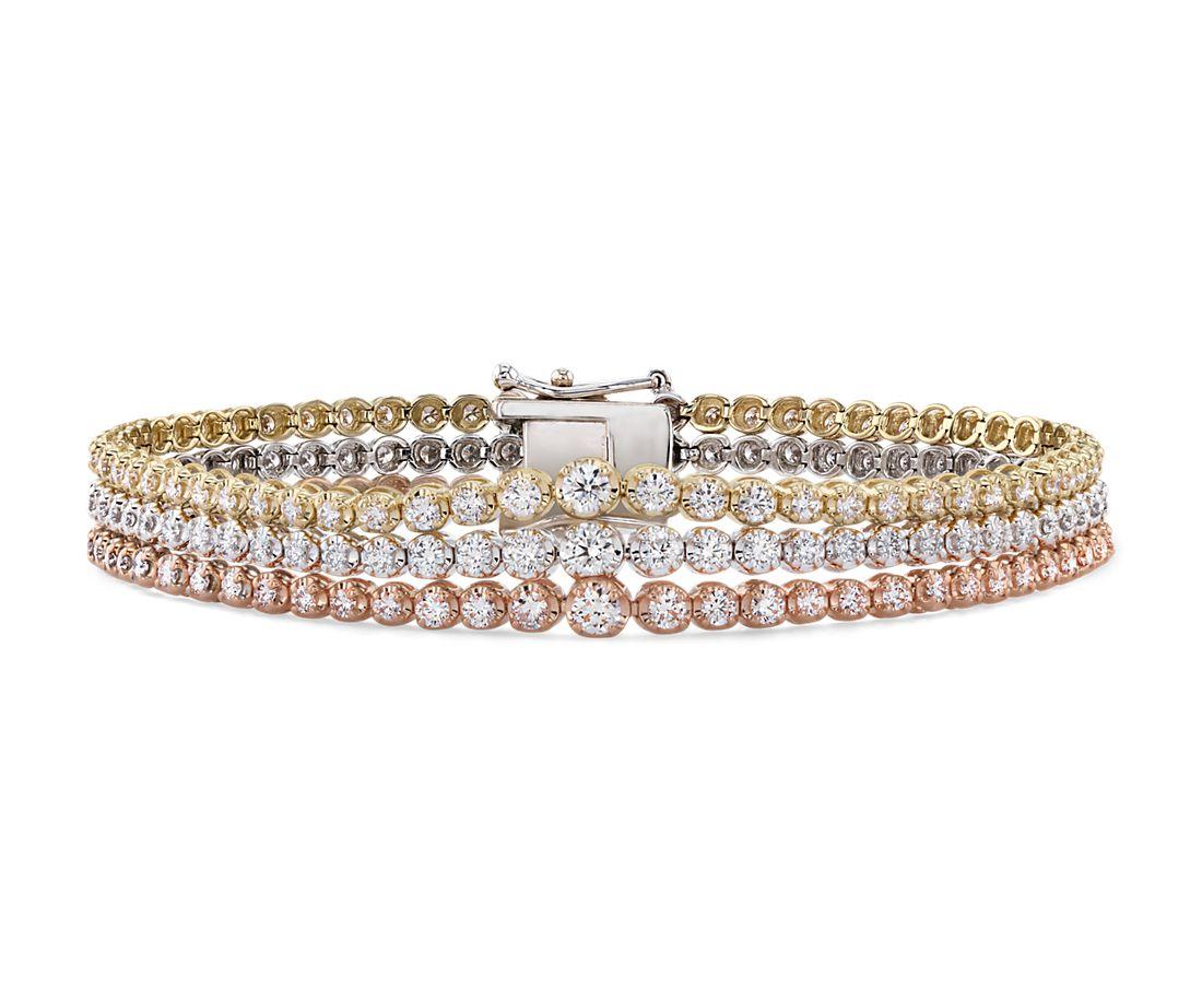 Bracelet tennis triple rang de diamants gradués en or blanc, jaune et rose de 14carats (4carats, poids total)